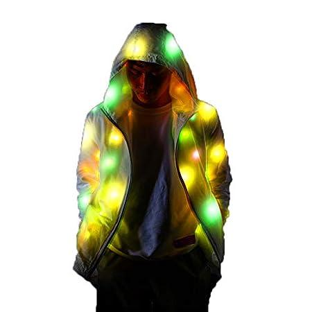 PeiQila Chaqueta con luz LED, Traje de Fiesta Brillante LED ...