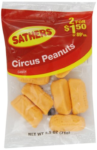 Farley's & Sathers Candy, Circus Peanuts, 2.5 Ounce, Pack of 12
