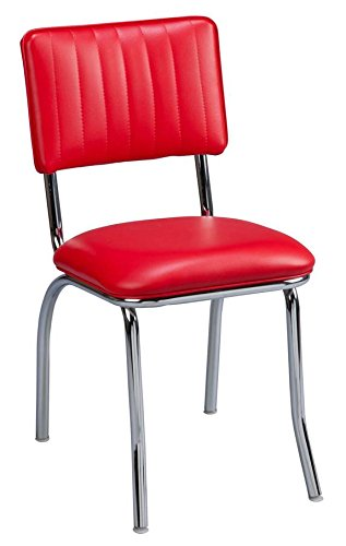 Floridian Red Vinyl - Regal Seating Retro Diner Chair with Channel Back - Set of Two (Vinyl - Floridian Red)