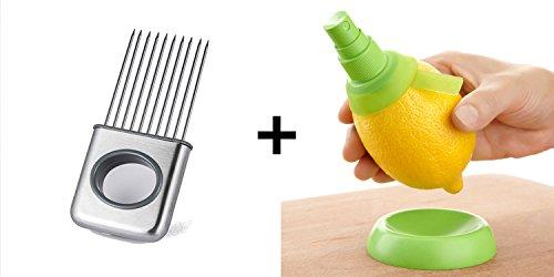 Stainless Steel Vegetable Onion Slicer and 2 Pack Citrus Sprayer Set - Lemon Juice Sprayer