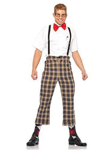 Leg Avenue Men's 4 Piece Nerdy Ned Costume, Brown, Medium