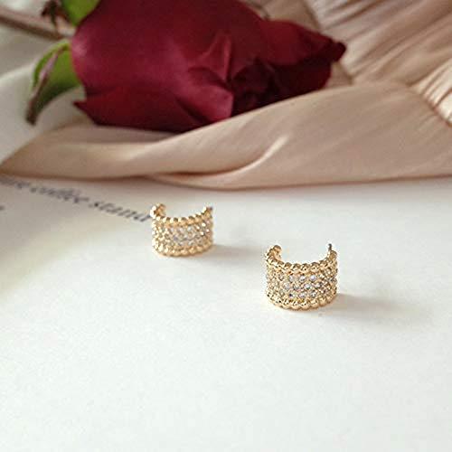 14K Gold Plated CZ Dainty Wide 925 Sterling Silver Cubic Zirconia Hoop Earrings Hypoallergenic