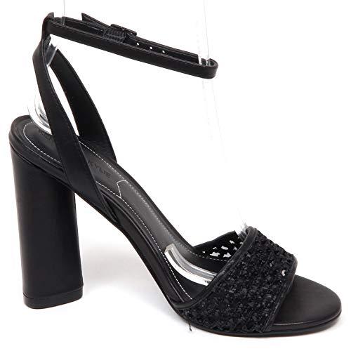 Black Shoe Woman E9496 Sandalo Tissue Sandal leather Nero Donna Kendall Kylie EpqFfq8A