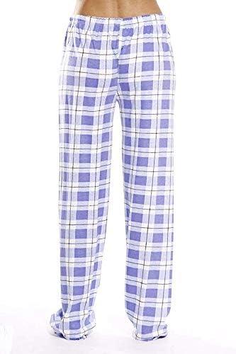 Plaid Pajama Pants Pocket Drawstring High Waist Lounge Trouser Womens Sleepwear