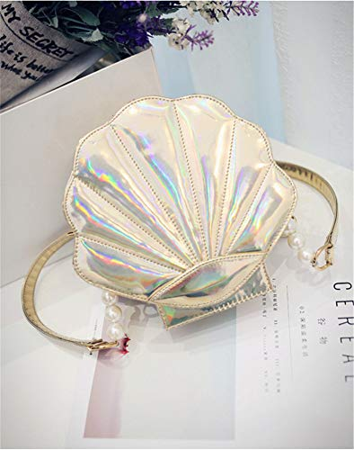 Womens Leather body Remeehi Bags Purse Gold Shoulder Pearl Cross Shell Hologram wRqdq7p