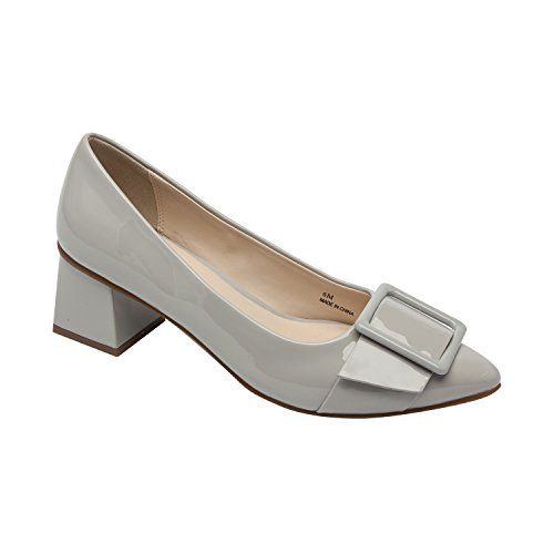 Pic & Pay Finlee | Women's Square Mid-Height Heel Comfortable Pointy Toe Belted Vegan Patent Pump Grey Vegan Patent 8M