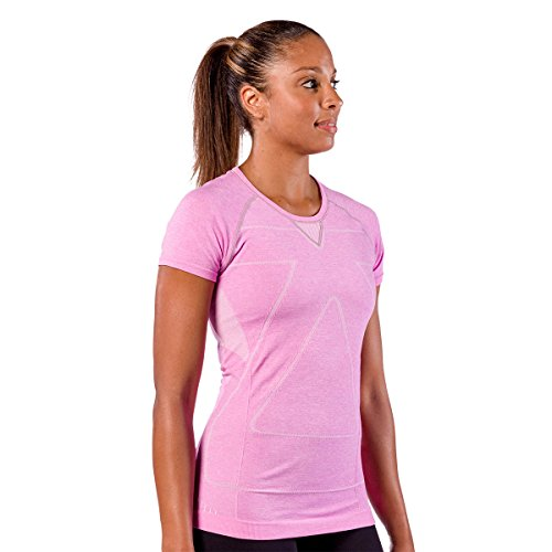 Zensah Women's Run Seamless Short Sleeve T-Shirt, Heather Pink, Small