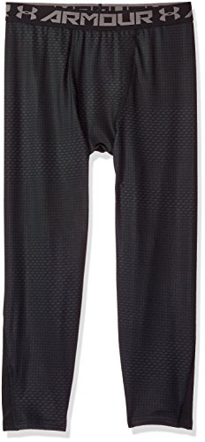 Under Armour Boys' HeatGear Armour ¾ Printed Leggings,Black (001)/Graphite, Youth Large -