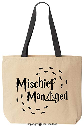 BeeGeeTees Mischief Managed Always Funny Wizard Reusable Canvas Tote Bag