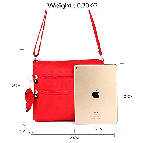 ANNA GRACE - Bolso cruzados de piel sintética para mujer Design 1 - Red