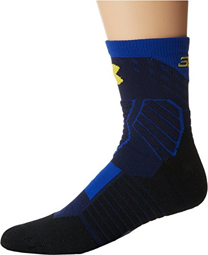 Under Armour Men's UA Basketball Curry Mid Midnight Navy/Royal/Taxi Yellow Sock (Under Armour Socks Men Quarter)