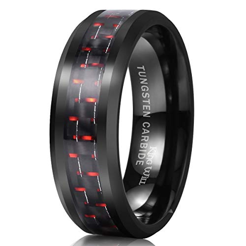 King Will Gentleman 8mm Black Tungsten Carbide Ring Black/Red/Green/Blue Carbon Fiber Inlay Polished Finish Edges Comfort Fit (Red, 6)