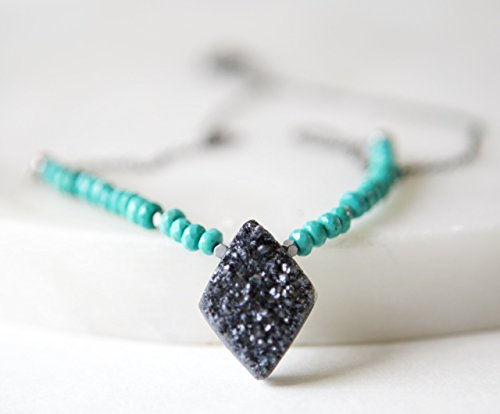 Charcoal Druzy and Turquoise Gunmetal Necklace - 18