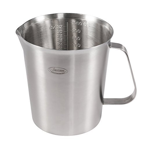 Measuring Cup, [Upgraded, 3 Measurement Scales, Including Cup Scale, ML Scale, Ounce Scale], Newness Stainless Steel Measuring Cup with Marking with Handle, 32 Ounces (1.0 Liter, 4 Cup)