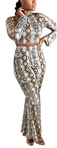 Jumpsuit Skin - Women Sexy Jumpsuit Turtleneck Long Sleeve Snake Skin Zipper Crop Top High Waist Bell Bottom Long Pants Bottom Sets 2 Pieces Outfits