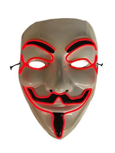 LED Costume Mask - V for Vendetta (Red) (V For Vendetta Masks)