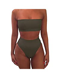 Women's Strapless No Padded High Waist Stretch Solid Sexy Bandeau Bikini Set Swimsuit
