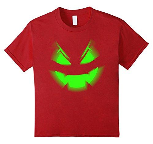 Kids Scary Face Halloween T-Shirt | Neon Green Acid Glow 6 (Really Scary Halloween Pumpkin Faces)