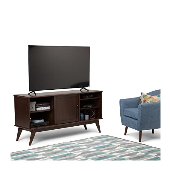 Simpli Home 3AXCDRP-08 Draper Solid Hardwood 60 inch Wide Mid Century Modern TV Media Stand in Medium Auburn Brown For TVs up to 65 inches - Handcrafted using the finest quality solid Rubberwood Hardwood Hand-finished with a Medium Auburn Brown stained and glazed finish with a protective NC lacquer to accentuate and highlight the grain and the uniqueness of each piece of furniture Wide and Tall TV Stand is perfect for TVs up to 65 inches - tv-stands, living-room-furniture, living-room - 41FgM94tgsL. SS570  -