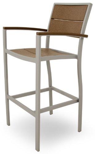 Trex Outdoor Furniture TXA212-11TH Surf City Bar Arm Chair, Textured Silver/Tree House