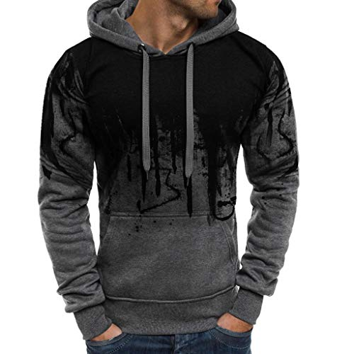 Mens Color Block Hooded Sweatshirt Long Sleeve Casual Slim Fit Pullover Autumn Winter Lightweight Printed Sweats Sumeimiya Gray