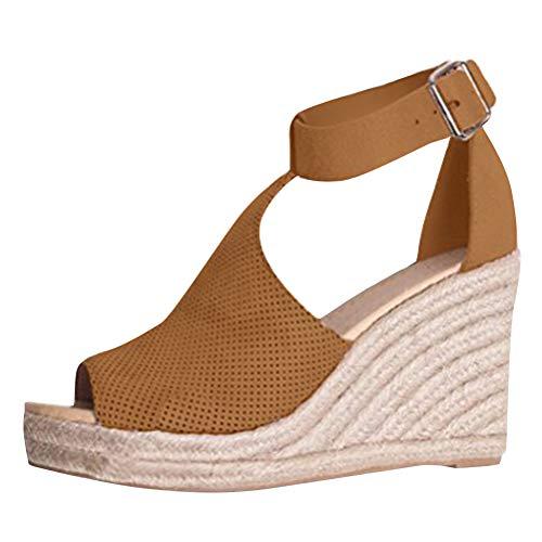 Donna Moda Casual Scarpe Eleganti Shoes Sandals Sandali Minetom Traspirante Piattaforma Zeppa Estivi Cachi Romani Fibbia HgRAwA5qx