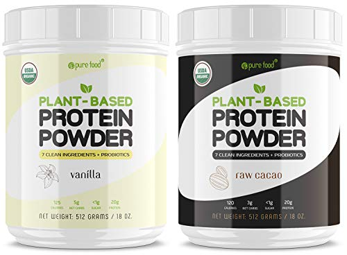 Pure Food Plant Based Protein Powder with Probiotics | Bundle Pack (2 Tubs): 1 Tub of Chocolate and 1 Tub of Vanilla | Organic, Vegan, Keto-Friendly, Dairy/Gluten/Sugar Free | 1024 Grams (2.2 Lb)