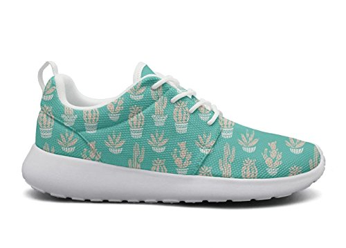 Fashion Pattern Hoohle Womens Shoes Cactus Cute Roshe Flex chams 1 Sneakers Cactus Sports Lil Blue Lightweight Mesh HHSxPq4cwA