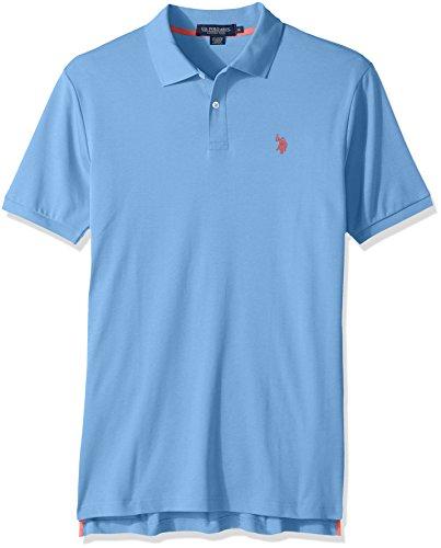 U.S. Polo Assn. Men's Solid Interlock Short-Sleeve Polo Shirt, Blue Coast-3045, X-Large