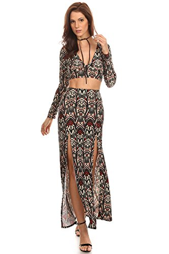 Warrior Princess Costume Pattern - Womens Bianca - Tribal Patterned Print Ethnic Printed Pattern Jungle Halloween Warrior Princess Goddess Costume Inspired Long Sleeve V-Neck Crop Top and Double Slit High Waist Maxi Skirt 2 Piece Set