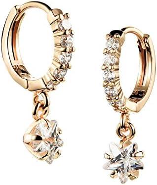 Jewelry チャーミングクリスタル ドロップイヤリング - ガールズ 18Kゴールドメッキ ダングルイヤリング