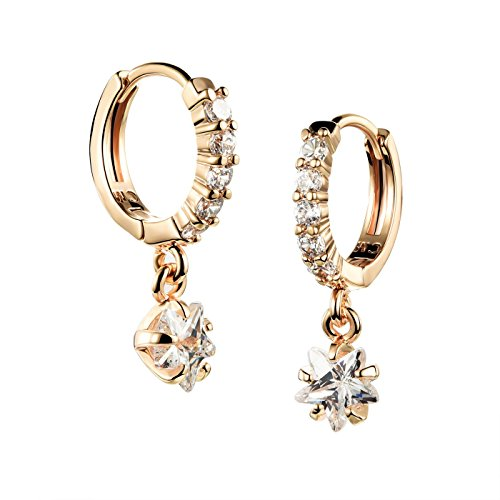 Tidoo Jewelry Charming Crystal Drop Earrings - Girl's 18k Gold Plated Dangle Earring