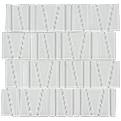 MTO0163 Modern Trapezoid White Beige Glossy Glass Mosaic Tile