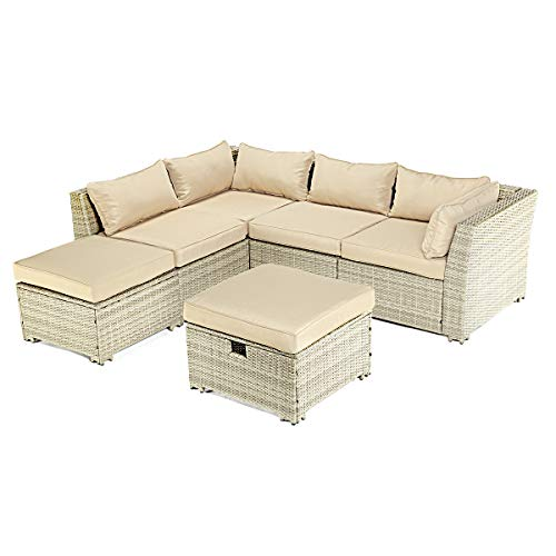 PAMAPIC 6 Pieces Outdoor Patio Furniture Set Storage Function, All Weather PE Rattan Beige Wicker Sectional SofaSeat Natural Incline More Ergonomic (Thick Washable Cushions), 6Piece (Natural Sofa Garden Rattan)