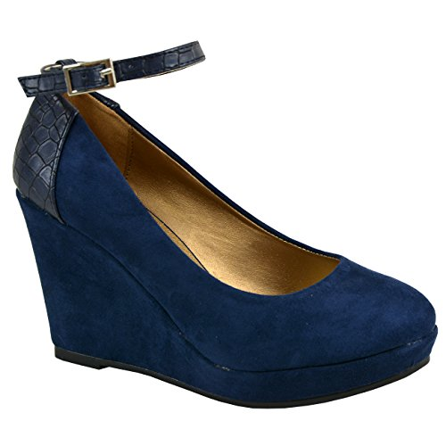 Cucu Fashion Ladies Womens Buckle High Heel Wedges Platform Pumps Court Snake Shoes Sizes UK Dark Blue 26nnW0I2V6