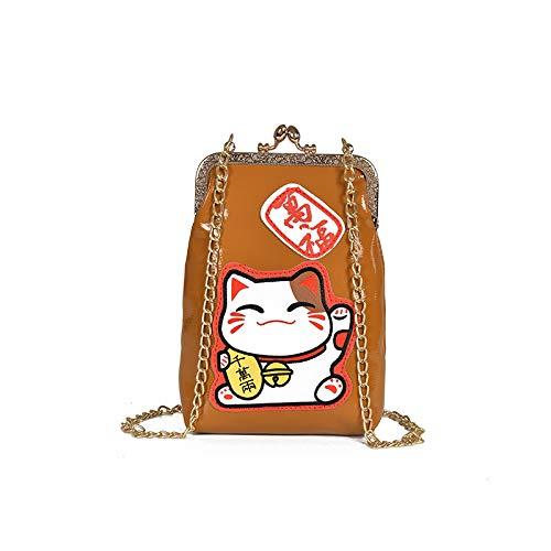 Borsa borsa Catena pacchetto Nuova a tracolla quadrata Pu a a Cat diagonale clip tracolla Piccola Lucky marrone GSYDXKB Borsa stampa femminile HT10wO4xq