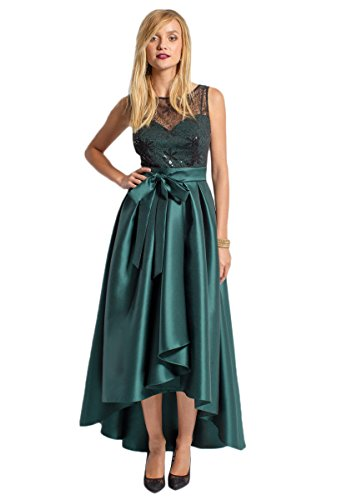 Green High Gown Low Bowknot with Satin Angelstormy Illusion sequins Long Women's Pine Evening q0UtAw7x