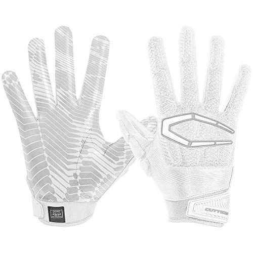 Cutters S652 Gamer 3.0 Padded Receiver Glove-Adult: Medium-WHITE