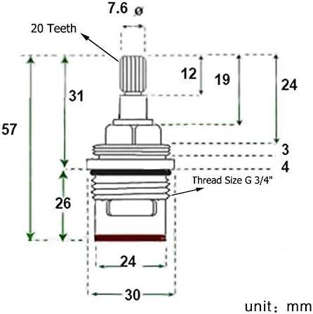 robinets chaud et froid Cold cartridge lot de 2/pi/èces robinet /à valve /à quart de tour. Skybath Cartouche de lavabo de salle de bain Paire de remplacement en c/éramique