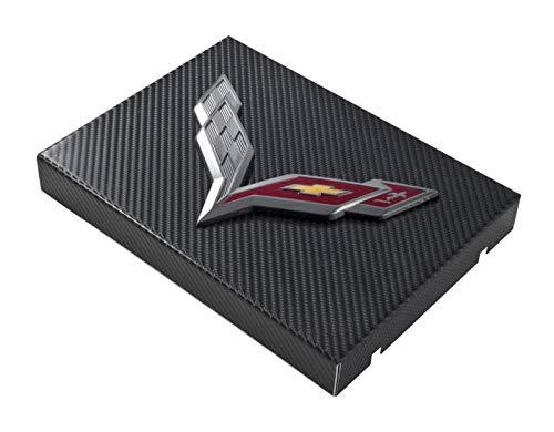Dress Up Fuse Box Cover - C7 Corvette Black Carbon Fiber Wrapped Fuse Box Cover - Crossed Flags