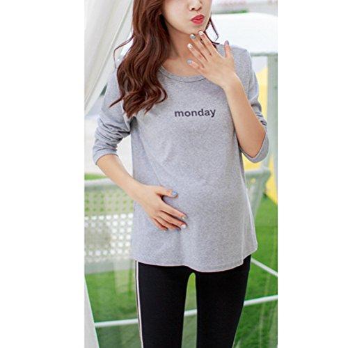 Laixing Fashion Maternity Long Sleeve La mujer embarazada Women Bottoming Shirt Round Neck Top Black