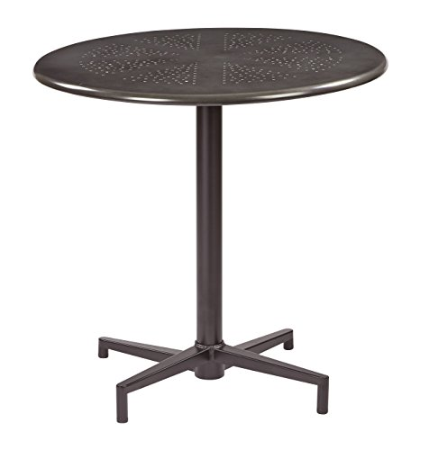 OSP Designs OXT43211-C210-1 Oxton Round Folding Table, Mattle Galvanized, 30