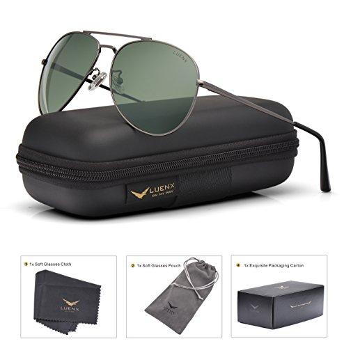 LUENX Aviator Sunglasses Polarized Men Women with Accessories Metal Frame UV 400 60MM (17-Grey Green, 60)