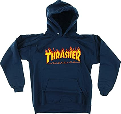 488d99ae11a1 Image Unavailable. Image not available for. Color  Thrasher Flame Logo Hood   Large  Navy