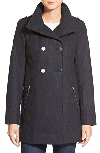 GUESS Double Breasted Wool Blend Swing Coat, Charcoal - (Blend Swing Coat)