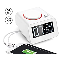 Homtime Alarm Clock for Bedroom with Dual USB Charger Ports for iPhone,Digital Clock,Dimmable,Snooze(White)
