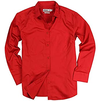 01a55787 Womens Basic Tailored Long Sleeve Cotton Button Down Work Shirt (Red, X- Large)