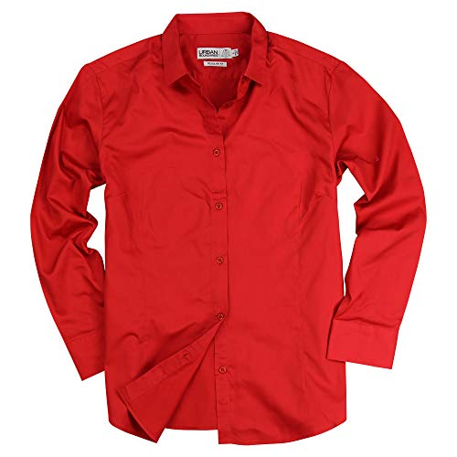 Womens Basic Tailored Long Sleeve Cotton Button Down Work Shirt (Red, Large)