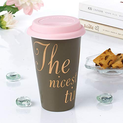 Ceramic Travel Coffee Mug with Gift Box, Double Heart- Resistant Ceramic Reusable Coffee Cup To Go Mugs 250ml (Heart Mug Travel)