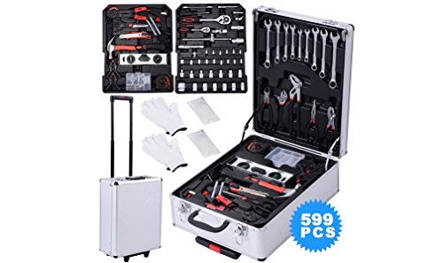 Auto Mechanic Tools Set 599 Piece. Box w/ Hand Tool Kit Includes – Screwdriver, Wrench, Socket, and Ratchet (Great for the Home, Garage, or Car). The Most Complete Professional set to get the Job Done